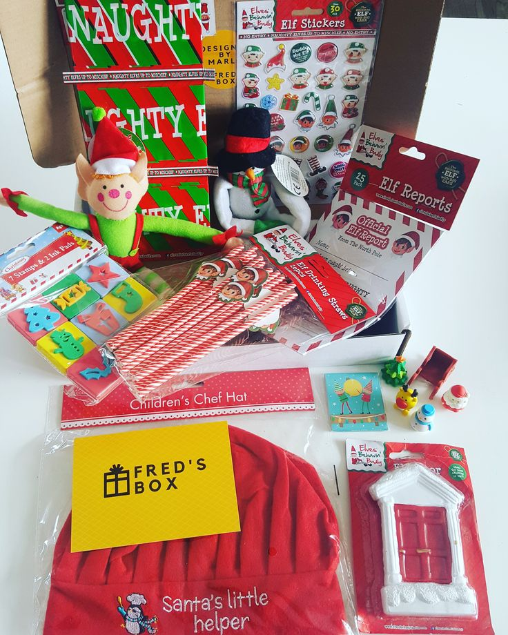 Christmas Elf Box now available at Fred's Box. All of this for only £16.99  elf door, kids chef hat, elf tape, elves, snowman, elf stickers, elf notes, christmas erasers, christmas stamps, elf nail file, elf straws, north pole breakfast, christmas eve box.