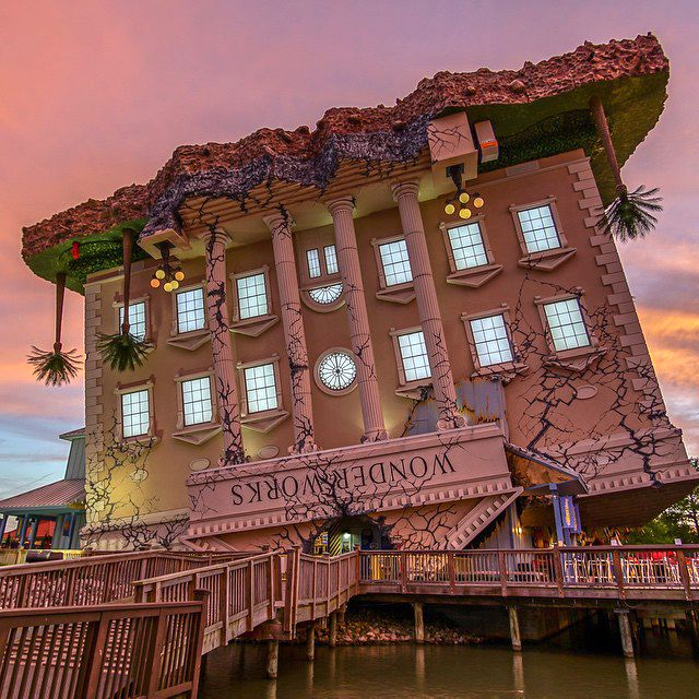 WonderWorks (at sunset), located at Broadway at the Beach in Myrtle Beach, South Carolina - It truly is a wonder! Educational and fun!    (Click on the pin for more info and additional things to do in Myrtle Beach - Photo via Instagram by @jeandersonphoto)