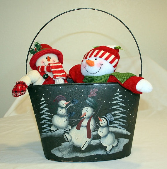 1000 images about painted buckets on pinterest tassels for Christmas tin pails