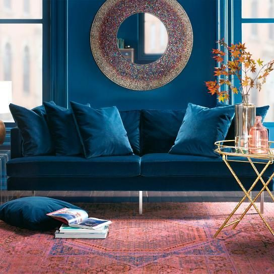 Seating - Trendy. Comfortable. Trendy. Comfortable. An on-trend update on classic and glamorous design, our blue sofa is more than a great current look; it's a completely comfortable sofa to call home. The clean, modern loose-back cushion design lures you