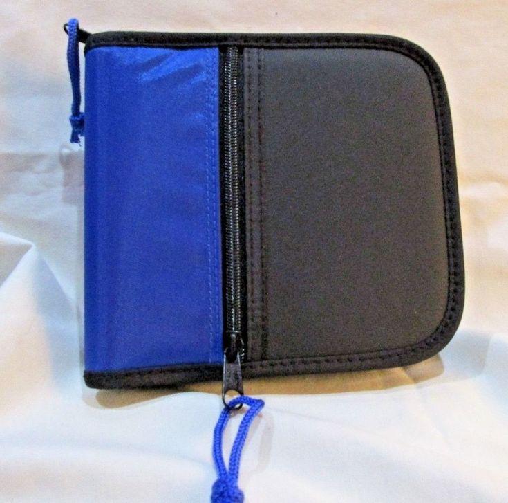 CD Storage Case Holds 24 Disks Outer Zip Pocket 3 Inside Pockets Vinyl Canvas #UnbrandedGeneric