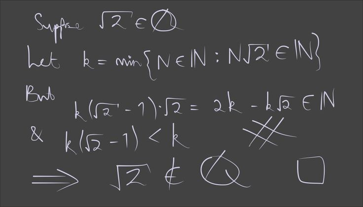 theapproximatepresent:  A favourite proof of mine: first demonstrated to me by my professor in number theory. I think its beauty stems from the fact that it requires no knowledge of mathematics above the definition of what it means for a number to be rational, and can be written almost in one line.