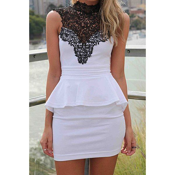 Sexy High Neck Sleeveless Lace Spliced Backless Flouncing Bodycon Women's Peplum Dress, WHITE, L in Club Dresses | DressLily.com