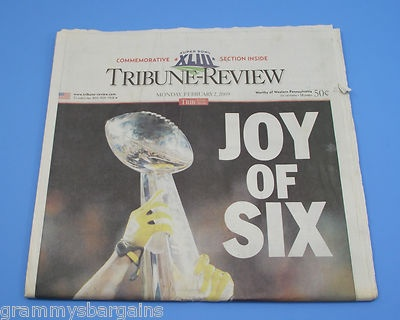 Pittsburgh Steelers Super Bowl XLIII Joy Of Six Lombardi Tribune Review 2/2/09 - Check it out on eBay!