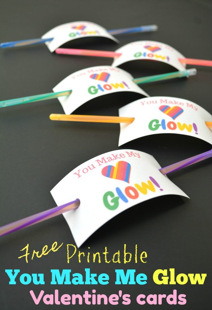 Free Printable Valentine's Day Cards - sugar free non candy classroom party treat idea! Just buy bulk glow sticks and add to these cute vday cards! #valentinesday #vday #classroom #partyfavors