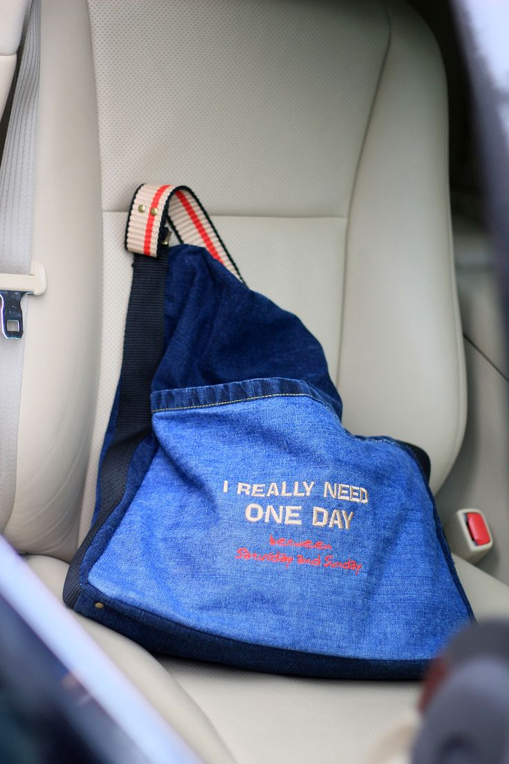 casual bag MORE TIME, jeans, embroidered, inscription I NEED ONE DAY BETWEEN SATURDAY AND SUNDAY