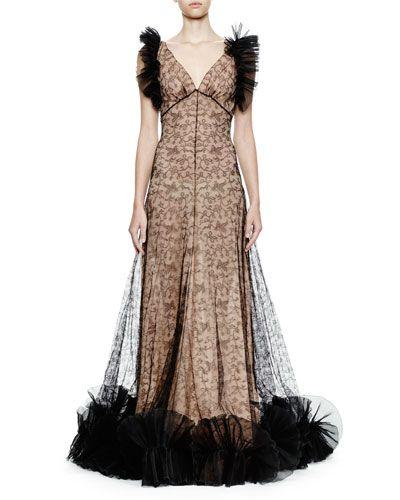 ALEXANDER MCQUEEN Sleeveless Tulle Gown W/Ruffle Trim, Black/Flesh. #alexandermcqueen #cloth #