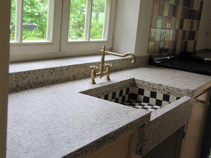 22 best naadloos ter plekke gestorte terrazzo aanrechtbladen ... - Terrazzo Kitchen Sinks