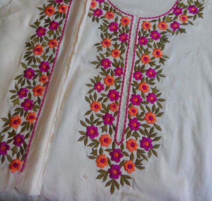 Machine Embroidered Suit in Cream Color with Multi Flower
