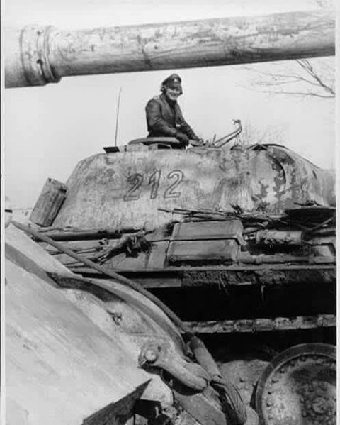 A King Tiger alongside a Panther Ausf G nr. 212 are operating in Hungary with the LSSAH during early 1945