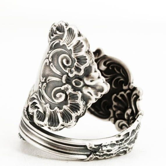 df108de7e1c84 Victorian Spoon Ring, Lace Ring, Sterling Silver Spoon Ring, Frilly ...