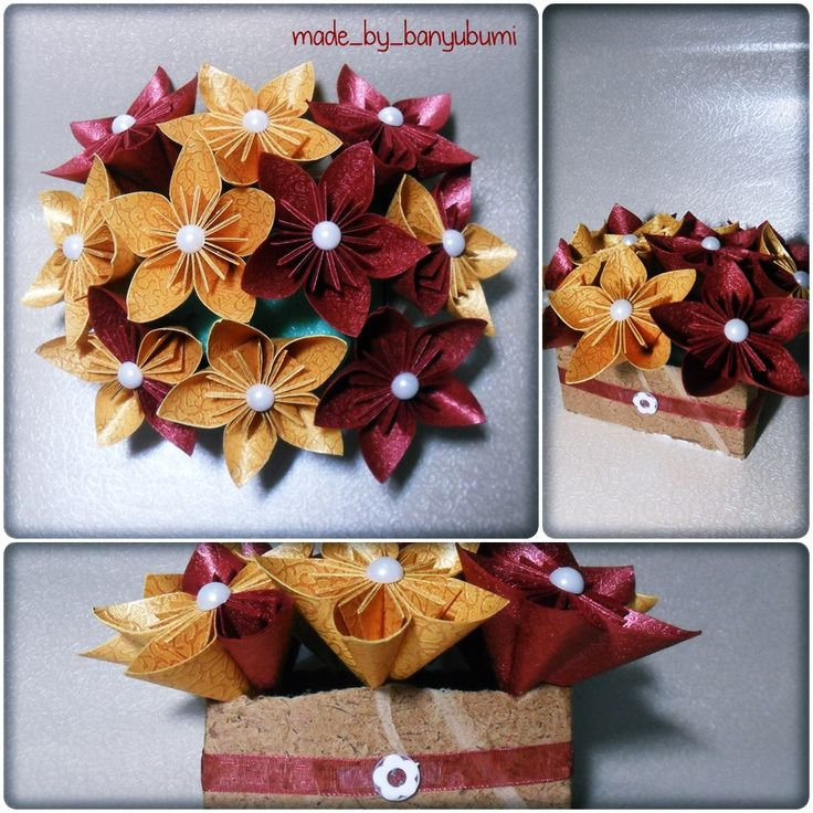 Kusudama flower origami | Gold & red paper | Instagram @made_by_banyubumi | #origami #paperfolding #origamiflower #bouquet #flower #handmade #DIY #origamiwork