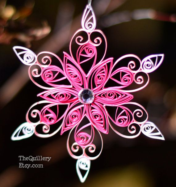 Quilled Paper Art Pink Snowflake Christmas Ornament от TheQuillery