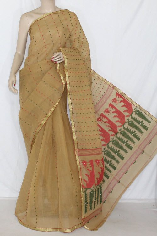 Fawn Handwoven Thousand Booti Bengali Tant Cotton Saree (Without Blouse) 14035
