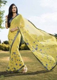 Casual Wear  Georgette Yellow Printed Saree
