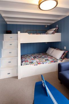 Built in stairs with drawers are perfect for small areas. Bunk Beds For Three Kids Design Ideas, Pictures, Remodel, and Decor - page 60