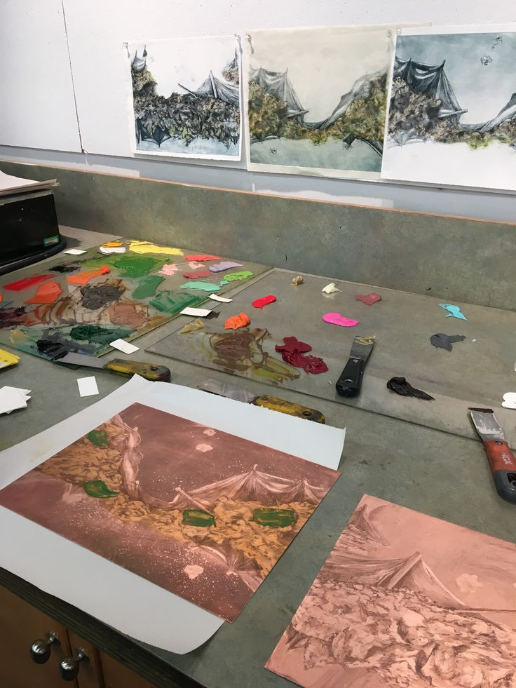 Working on a copper plate etching project at Society of Northern Alberta Printmakers (SNAP). Look at all that colour!