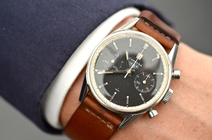 The exceedingly rare 1967 Tag Heuer Carrera Dato 12, a manually wound piece with the date window at 12 o'clock.