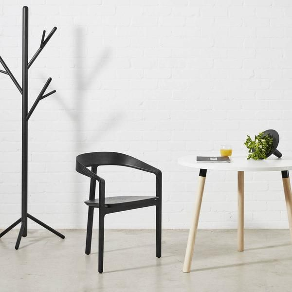 Bow Chair Black Stain Ash| 3 Legged Timber Dining Chair