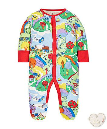 This super sweet all in one has been crafted from the softest cotton to ensure your little one stays cosy and comfortable all day long! Designed exclusively for Mothercare by the amazing Jools Oliver who has a great eye for all things retro and classically cute! Featuring integral scratch mitts and enclosed feet with toe and finger safe to prevent loose threads wrapping around tiny toes and little digits! Finished with a bright and colourful countryside scene with trees, hot air balloons…
