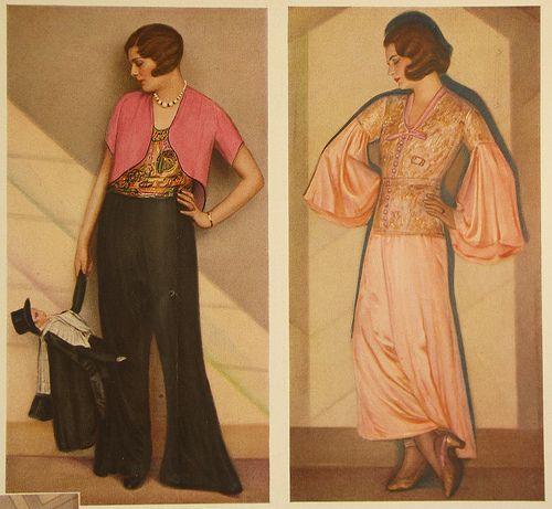 German fashion plate, 1930: Color Palettes, Vintage Fashion, Fashion Plates, 1930S Fashion, Vintage Outfit, German Fashion, 1920S German, Wide Leggings Trousers, Fashion Magazines