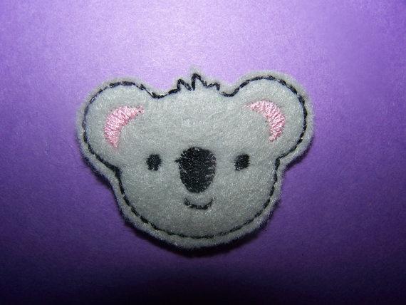 4 Embroidered koala craft felt embellishments for by lovmy3grlz, $3.40