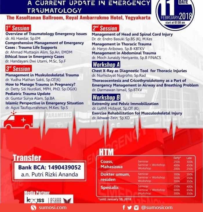 "Symposium and Workshop Continuing Medical Education: ""ACCIDENT"" A Current Update In Emergency Traumatology"" Total 19 SKP IDI @PBIDI @KemenkesRI https://sumosi.com/event-workshops-seminars/symposium-and-workshop-continuing-medical-education-accident-a-current-update-in-emergency-traumatology-total-19-skp-idi-588  #indonesia #jogja #kotajogja #workshop"