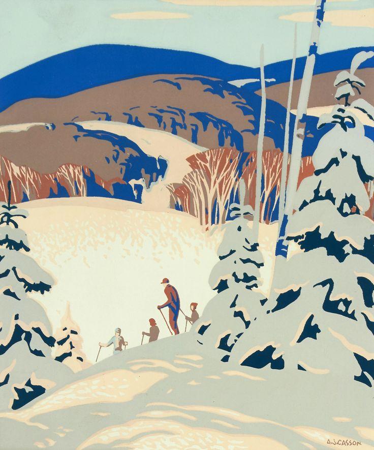 Alfred Joseph Casson (1898-1992) - Skiers, 1980