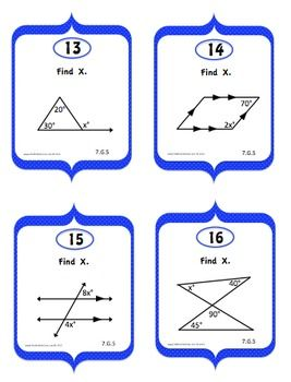 20 Task Cards that align to the common core standard 7.G.5 Angles in a figure with answer key and recording sheet!  Great for geometry review.