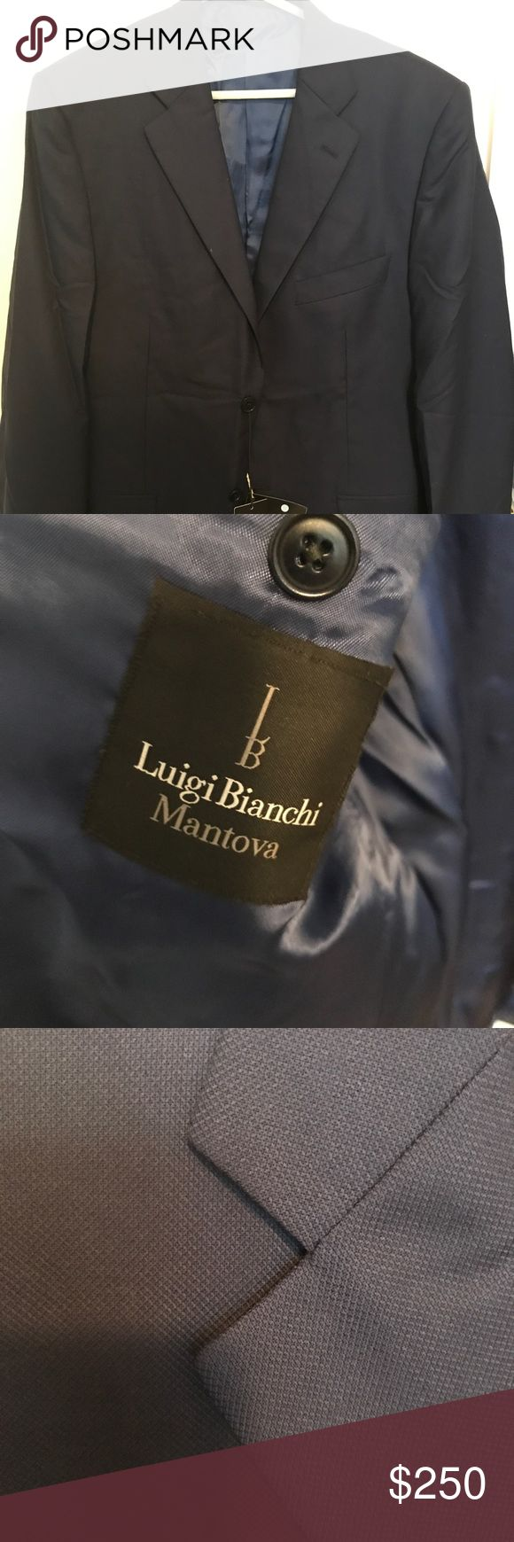 Luigi Bianchi Virgin Wool Blue Sports Jacket NWT Made in Italy - one of the most famous men's designer wear - 100% wool sports jacket by Luigi Bianchi Mantova Luigi Bianchi Mantova Suits & Blazers Sport Coats & Blazers