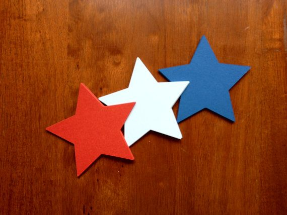Stars, a hole punch and ribbon would make a very easy Memorial Day/Fourth of July/Veterans Day banner.