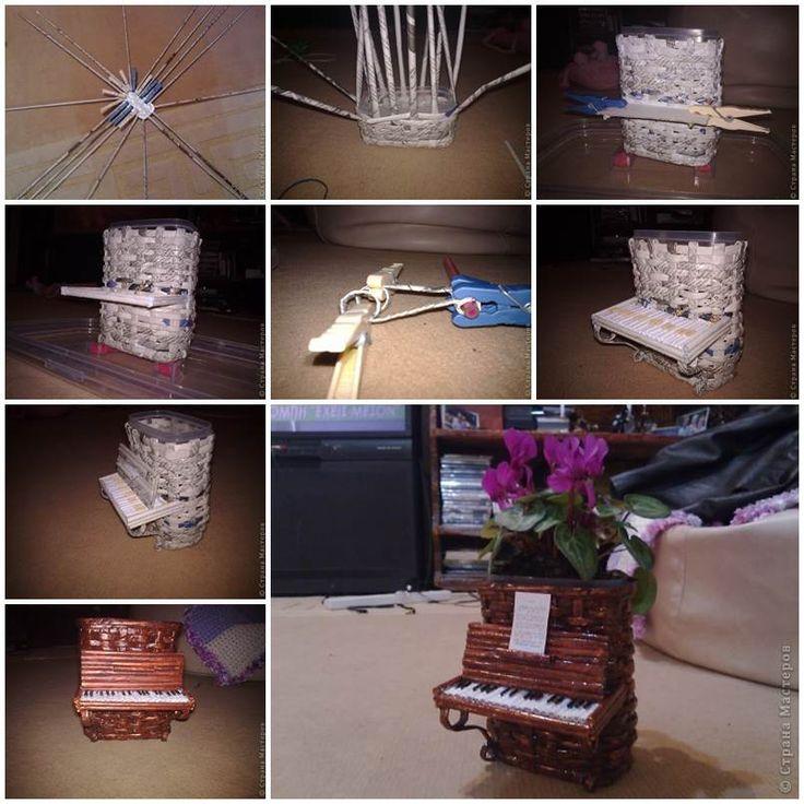 DIY Woven Paper Piano Flower Pot