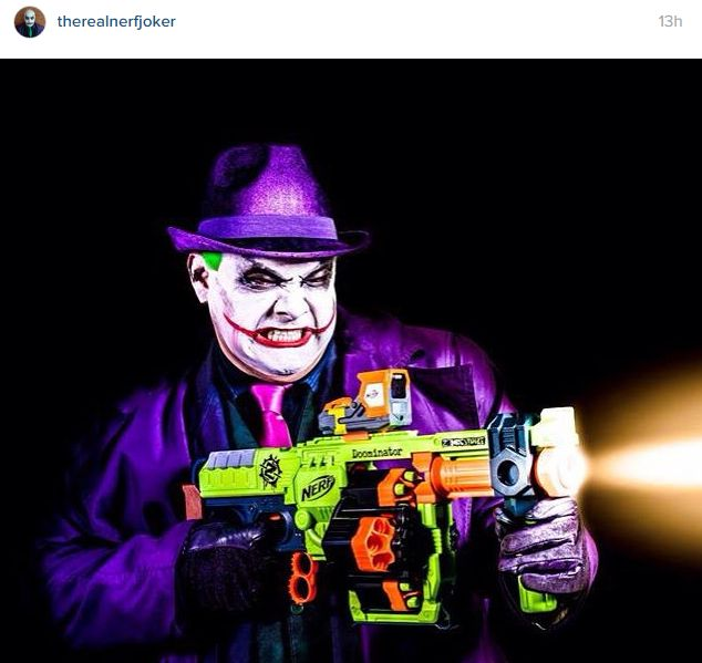 the nerf joker with the nerf zombie strike doominator blaster | Cosplay |  Pinterest | Joker and Cosplay