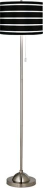 Brushed Nickel Bold Black Stripe Pull Chain Floor Lamp
