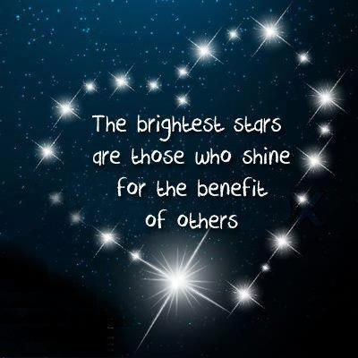 """""""The brightest stars are those who shine for the benefit of others."""" <3 #letyourlightshine"""