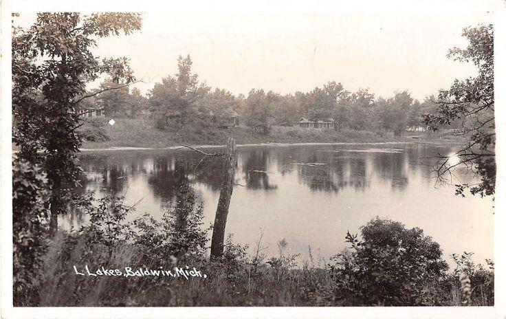 Baldwin Michigan Lake Scene Real Photo Antique Postcard (J14605)