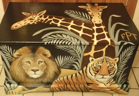Custom Jungle Safari Toy Chest with by originalsbybarbmazur, $310.00