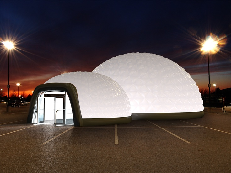 Inflatable dome structure with lighting system and doors.  #EvolutionDome #Lighting #InflatableDome #InflatableStructure #TemporaryStructure #Corporate #EventSpace #EventStructures #PopUp #DrySpace #Venue #Marquee #TradeShow #Conference #Exhibition