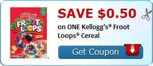 50¢ on ONE Kellogg's Froot Loops Cereal (Fruit Loops and Fruit Loops with Marshmallows for $.99 at Kroger through 03/06!)