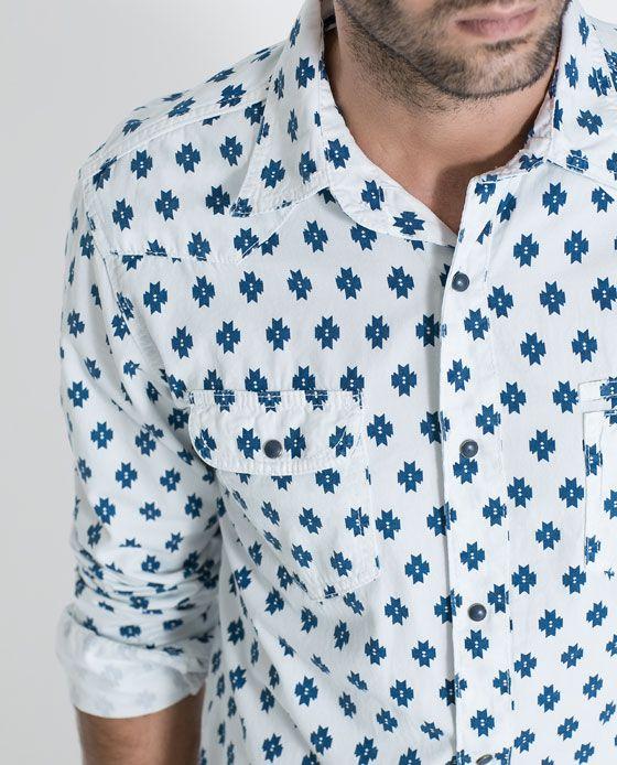 CAMISA POPELÍN PRINT AZUL - Slim Fit - Camisas - HOMBRE | ZARA Colombia