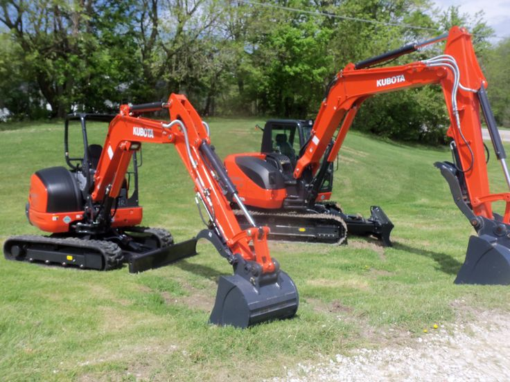 Kubota excavators on right large KX080-4 & on left smaller KX040-4