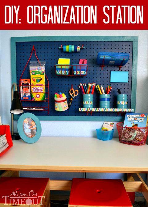 diy organization station scotchbts - Boys Desk Ideas