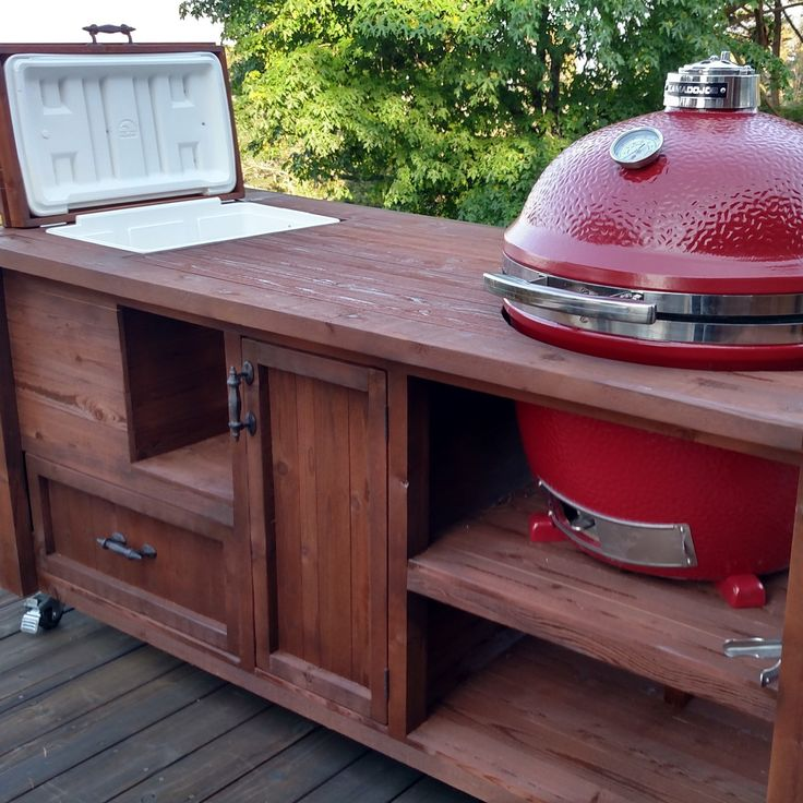 Custom Grill Table Or Cart For Green Egg Do Joe Primo Add A Gas Drop In Mini Fridge An Outdoor Kitchen