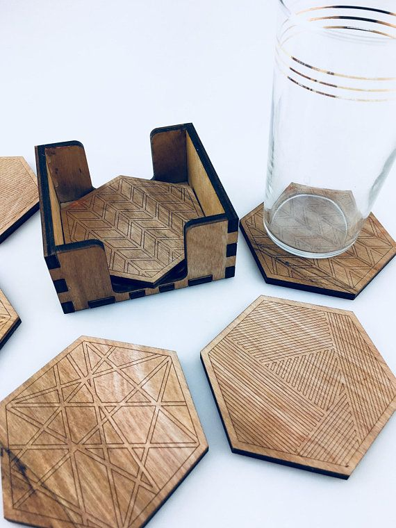 Set of 6 Square Heart Wooden Verres Coasters With Holder Coffee Table Desk Home