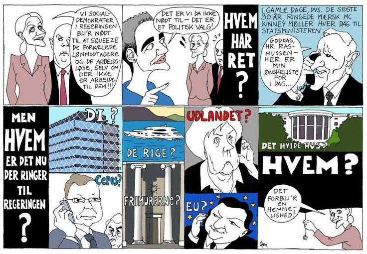Hvem regerer Danmark? Tegning: Anne-Marie Steen Petersen