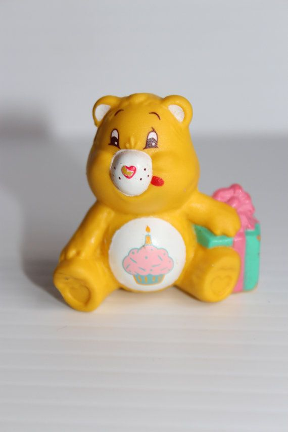 BIRTHDAY BEAR FIGURE, 1980's Vintage Bear, Yellow Care Bear Mini Figure, Care Bear with present and cupcake, Birthday gift, Cake topper,
