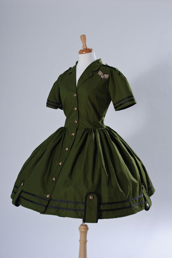 Pinup Army Military Dress Retro Pin Up Rockabilly by CherryTiki, $224.95 This could so easily be steampunk!
