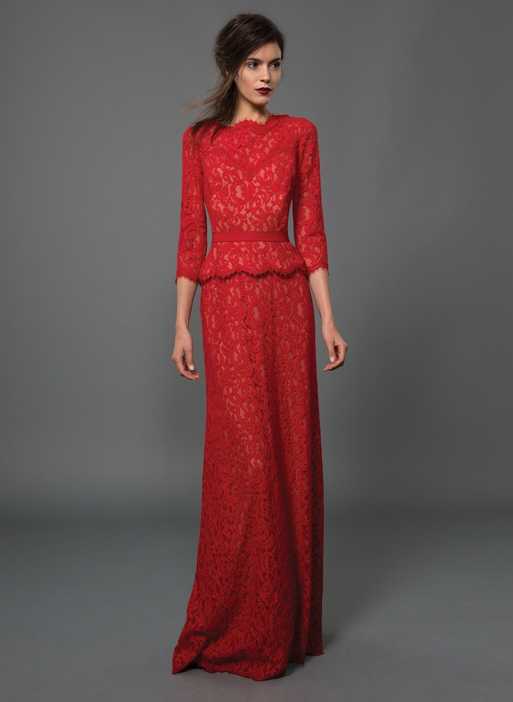 Lace Boatneck 3/4 Sleeve Gown with Grosgrain Ribbon Belt in Flame/Nude | Tadashi Shoji