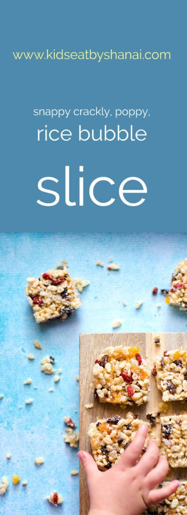 A yummy, snappy, crackly, poppy rice bubble slice that is so easy the kid's could make it for themselves! You can literally put whatever you have on hand in….. dried fruits, nuts, seed…