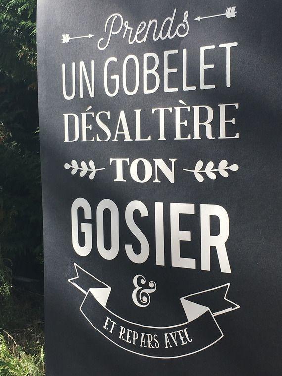 """Grande Affiche """"Prends un gobelet"""" Buffet Mariage Vintage - Décoration Mariage Noir & Blanc"""